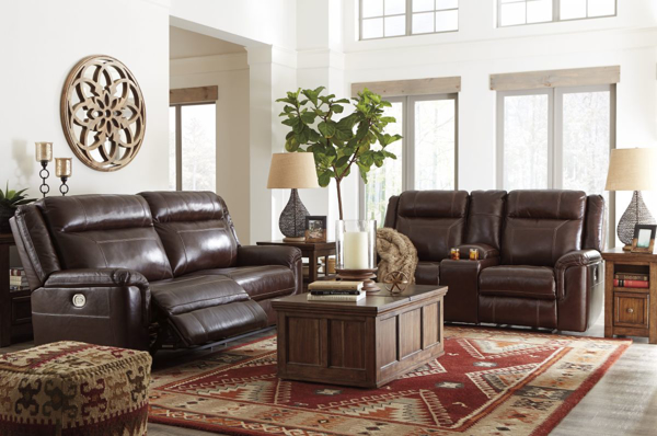 Wyline Coffee 2 Piece Leather Power Reclining Living Room Set