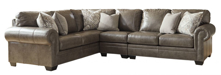 Picture of Roleson Quarry Leather 3-Piece Left Arm Facing Sectional