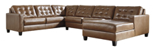 Picture of Baskove Leather 4-Piece Right Arm Facing Sectional