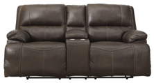Picture of Ricmen Walnut Leather Power Reclining Loveseat/Adjustable Headrest
