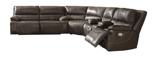 Picture of Ricmen Walnut Leather 3-Piece Reclining Sectional