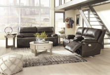 Picture of Ricmen Walnut 2-Piece Leather Power Reclining Living Room Set