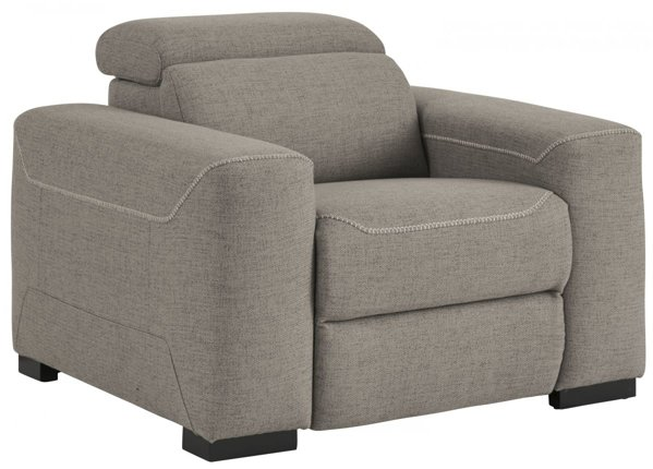 Picture of Mabton Gray Power Recliner With Adjustable Headrest