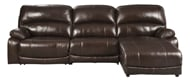 Picture of Hallstrung Chocolate Leather 3-Piece Power Right Arm Facing Sectional