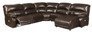 Picture of Hallstrung Chocolate Leather 5-Piece Power Reclining Sectional