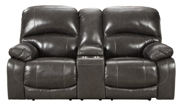 Picture of Hallstrung Gray Leather Power Reclinig Loveseat