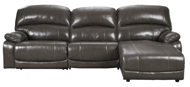 Picture of Hallstrung Gray Leather 3-Piece Right Arm Facing Power Reclining Sectonal