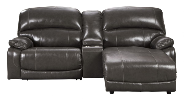 Picture of Hallstrung Gray Leather 3-Piece Power Reclining Sofa Chaise