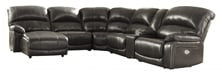 Picture of Hallstrung Gray Leather 6-Piece Left Arm Facing Power Reclining Sectional