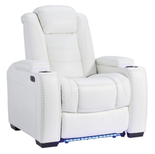 Picture of Party Time Power Recliner With Adjustable Headrest-White