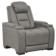 Picture of The Man-Den Gray Power Recliner With Adjustable Headrest