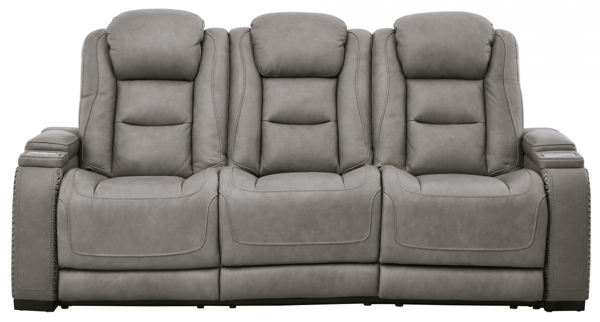 Picture of The Man-Den Gray Power Reclining Sofa With Adjustable Headrest
