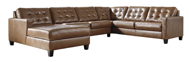 Picture of Baskove Leather 4-Piece Left Arm Facing Sectional