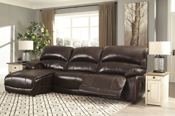 Picture of Hallstrung Chocolate Leather 3-Piece Left Arm Facing Power  Reclining Sectional