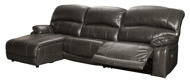 Picture of Hallstrung Gray Leather 3-Piece Left Arm Facing Power Reclining Sectional